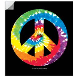 PEACE SIGN 80'S TIE DYE STICKERS