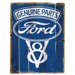 FORD GENUINE PARTS V8 LOGO VINTAGE SIGN
