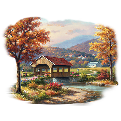 COVERED BRIDGE IN FALL