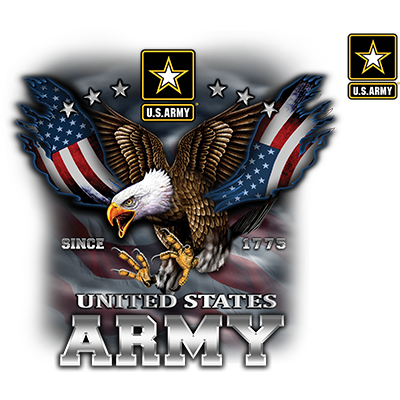 Us Army Eagle And Flag W Crest Heat Transfers T Shirt