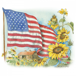 FLAG AND SUNFLOWERS