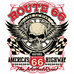 ROUTE 66 WINGED SKULL