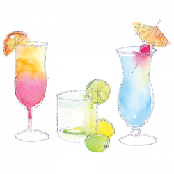 TROPICAL DRINKS WATERCOLOR