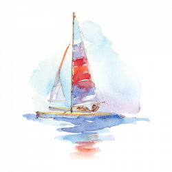 WATERCOLOR RED AND BLUE SAILBOAT