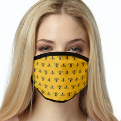 BLACK BEES ON YELLOW ALL OVER PRINT MASKS