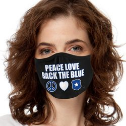 PEACE LOVE BACK THE BLUE 2-PLY MASKS